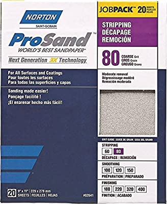 """St. Gobain ProSand 07660768174 Premium Sanding Sheet With Heat-Treated Abrasive, P80 Coarse Grit For Moderate Removal and Stripping, 9"""" x 11"""" (20 Sheets)"""