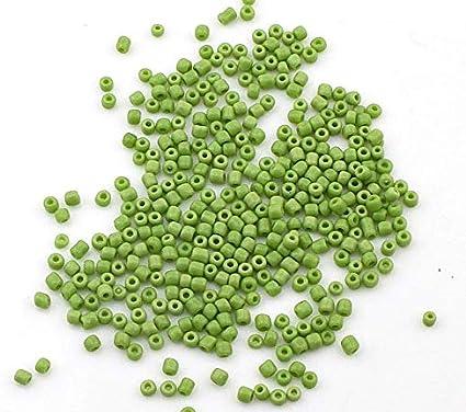 Perlin 450 g de cuentas de 3 mm, color verde opaco, 15.000 unidades, cuentas textiles 8/0, minicuentas, para manualidades, para ensartar