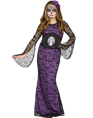 Halloween La Muerte Costume (Fun World Big Girl's LA Muerte Halloween Cosutume Childrens Costume, Multi, Medium)