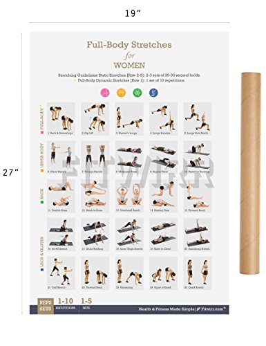 Stretching Exercise Poster Now Laminated - Shows How to Stretch Specific Muscles for Your Workout - Flexibility Exercises - Stretching Routine - Home/Gym Fitness 19