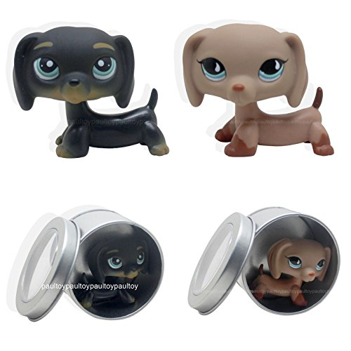 [tongrou 2pcs #325 #518 Littlest Pet Shop Puppy Dog Dachshund Tan Brown Black LPS] (Jack In The Box Costume Head For Sale)