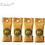 Kmise Reusable Air Purifying Bag Bamboo Charcoal Bag Air Freshener Odor Deodorizer 4 x 75g All Nature Bamboo for Home Cars Closets Bathrooms and Pet Areas