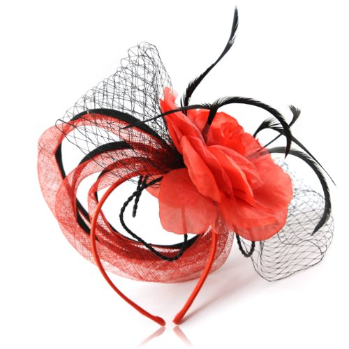 Victorian Snake Ring (Unique janeojewels Styling you won't find anywhere in this Parisian Art deco style Unusual fascinator hat. Three Fabric Ring Tubes fall gracefully behind the Large corsage flower and net Bows.)