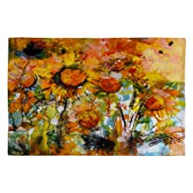 DENY Designs Ginette Fine Art Abstract Sunflowers Woven Rug, 2 by 3-Feet
