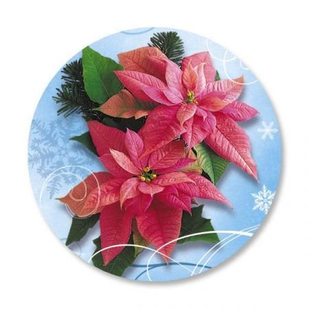 "Royal Poinsettia Christmas Envelope Seals - Set of 144 Self-Adhesive, Flat-Sheet, 1-1/2"" Sticker Seals, By Colorful Images"