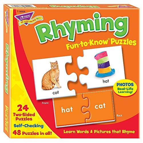 Trend Enterprises Fun to Know Rhyming Puzzles - Set of 24