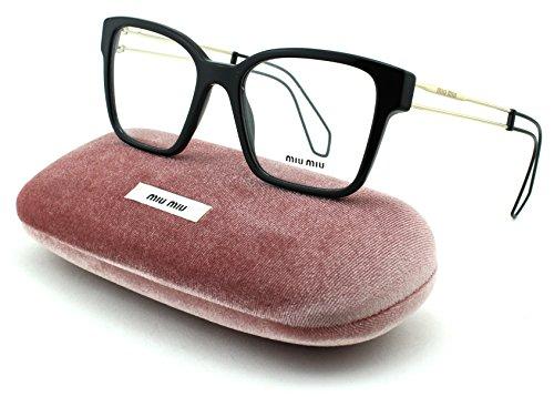 Miu Miu 02PV Women Square Eyeglasses (Black Frame 1AB/1O1, - Frames Eyeglass Miu
