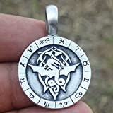Dragon Wheel of Zodiac Charm Amulet Pewter Pendant