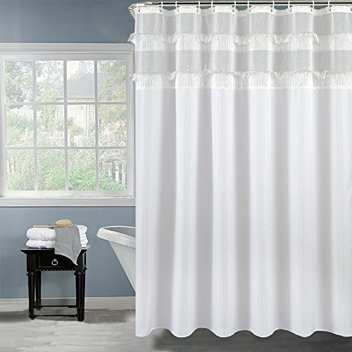 2 Inch Wide by 80 Inch Long Bathroom Curtain Water Resistant Mildew Free, Cute Fringe Tassel Sand Polyester Shower Curtains with Free Curtain Rings ()