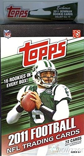 2011 Topps NFL Football Exclusive HUGE Hanger Box with 72 Cards including 16 ROOKIE Cards! Look for RC of Colin Kaepernick,Cam Newton and Many More! Loaded ! (Football Card Box 2011 compare prices)