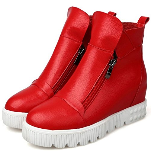 COOLCEPT Damen Gemutlich Plateau Height Increased Zip Stiefeletten Red