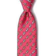 Men's 100% Silk Fuchsia Red Equestrian Horse Racing Win Place Show Neck Tie Necktie Neckwear
