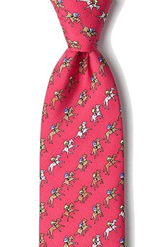 Kentucky Derby Jockey Silks - Men's 100% Silk Fuchsia Red Equestrian Horse Racing Win Place Show Neck Tie Necktie Neckwear
