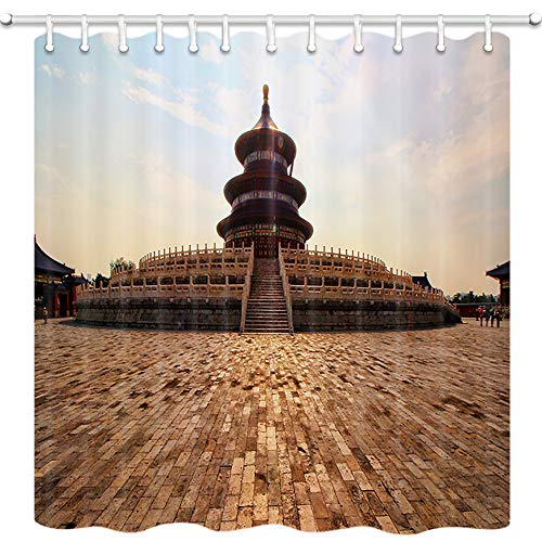 DYNH Building Shower Curtains, Beijing Temple of Heaven, Ancient Red Palace Building and Flat Brick Plaza Bath Curtain, Polyester Fabric Bathroom Curtain with 12 Hooks, 69X70 Inches