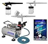 Master Airbrush 3 Airbrush Professional Multi-Purpose Airbrushing System Kit - G22