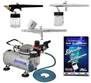 Master Airbrush Multi-purpose Airbrushing System with 3 Airbrushes, Gravity Feed, Siphon Feed & All Purpose Airbrushes, Airbrush Compressor, 6' Air Hose & Airbrush Holder and How to Airbrush Manual