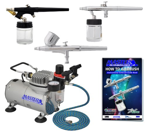 Airbrush Kit Feed (Master Airbrush 3 Airbrush Professional Multi-Purpose Airbrushing System Kit - G22, S68, E91 Gravity & Siphon Feed Airbrushes, Hose, Air Compressor, Airbrush Holder - How-To-Airbrush Guide Booklet)