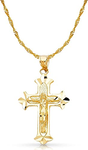14K Yellow Gold Religious Crucifix Charm Pendant For Necklace or Chain