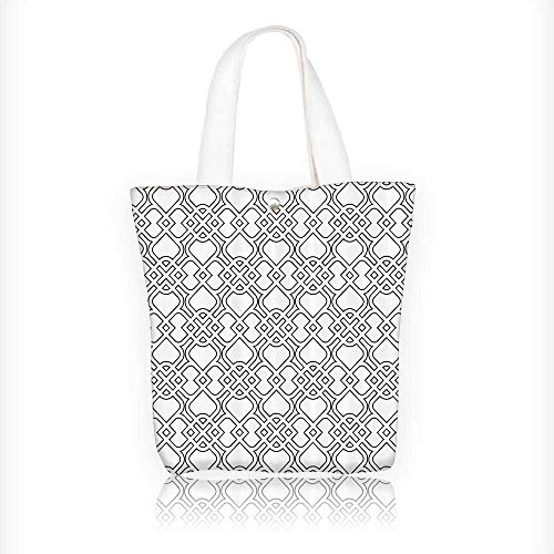 Canvas Tote Bags Trippy Linked Islamic Delicatewith Arasque Tile Influences Oriental Design Your Own Party Favor Pack Tote Canvas Bags by Big Mo's Toys W11xH11xD3 INCH by Jiahonghome