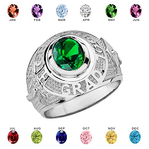 Sterling Silver Personalized CZ Birthstone High School Class of 2018 Graduation Ring (Size 13.5)