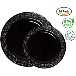 Party Joy 50-Piece Plastic Dinnerware Set | Lace Collection | (25) Dinner Plates & (25) Salad Plates | Heavy Duty Premium Plastic Plates for Wedding, Parties, Camping & More (Black)