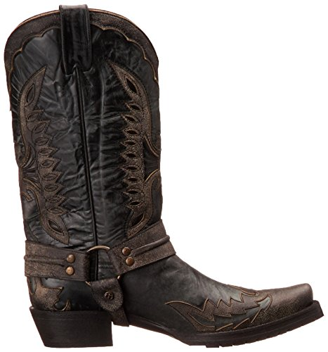 Stetson Mens Outlaw Aquila Western Boot Angosciato Nero