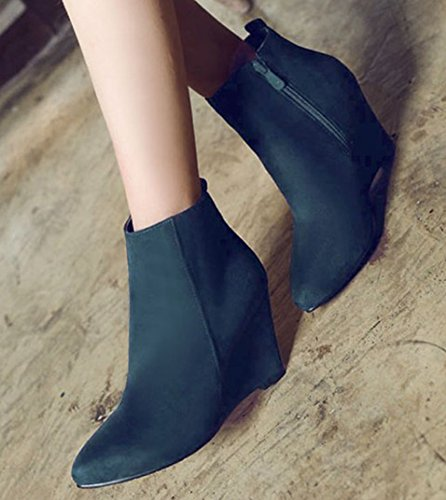 IDIFU Womens Retro High Heels Wedge Pointed Toe Side Zipper Faux Suede Ankle Boots Blue X18di
