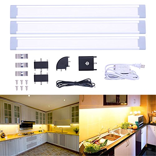 ... LED Under Cabinet Lighting Kit, Dimmable Touch Sensor Closet Light With  24 LED, Warm White/ White/ Cold White For Anywhere, 3 Pack: Home U0026 Kitchen