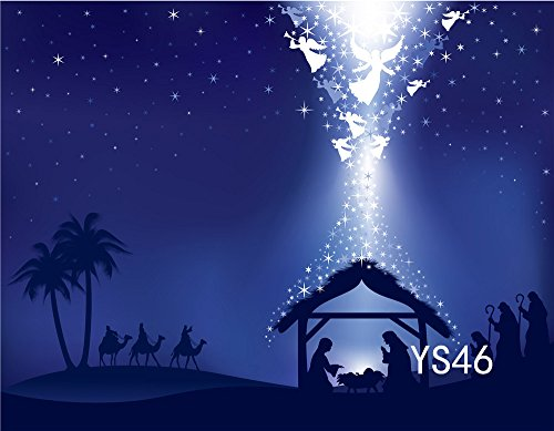 LB 9x6ft Poly Fabric Christmas Photography Backdrops Customized Christmas Manger Scene Nativity Story Photo Studio Background Props (Nativity Scene Background)