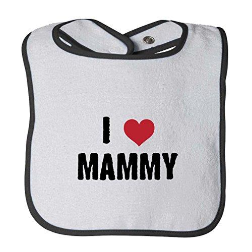 I Love Heart Mammy Infant Contrast Trim Terry Bib White/Black (Black Mammy And White)