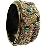 Indian Traditional Vintage Gypsy Belly Dance Gold Toned Multicolor Stone Cuff Bracelet