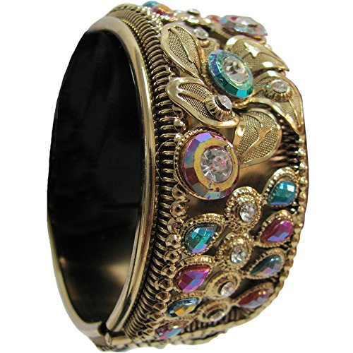 Indian Traditional Vintage Gypsy Belly Dance Gold Toned Multicolor Stone Cuff (Traditional Dance Costumes Of India)
