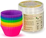 Pantry Elements Silicone Cupcake Liners Baking Cups - 12 Pack Vibrant Muffin Cake Molds in Bonus Screw Top Storage Jar