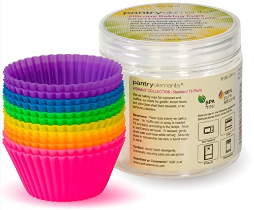 Pantry Elements Silicone Cupcake Liners Baking Cups  12 Pack Vibrant Muffin Cake Molds in Bonus Screw Top Storage Jar