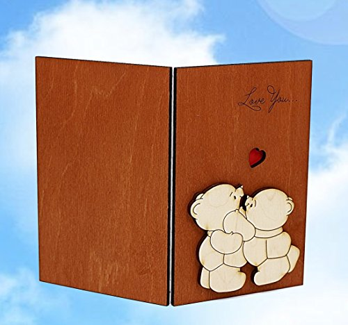 Handmade Real Wood Cute Love You Teddy Bears Best