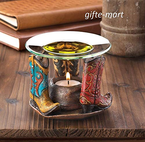 (Western Country Cowboy Boot Wax Tart Warmer Oil Diffuser Candle Holder Burner Decorative Centerpieces for Living Dinning Room Table Decoration, Wedding Gifts)