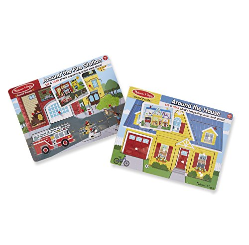 Melissa & Doug Sound Puzzle Around The House & Around The Fire Station Puzzle (8 Piece)