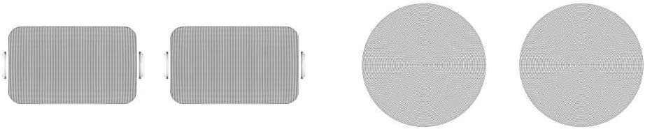 Sonos Outdoor Speakers- Pair of Architectural Speakers by Sonance for Outdoor Listening Bundle with Sonos in-Ceiling Speakers - Pair of Architectural Speakers by Sonance for Ambient Listening