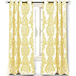 "DriftAway Samantha Thermal/Room Darkening Grommet Unlined Window Curtains, Floral/Damask Medallion Pattern, Set of Two Panels, Each 52""x84"" (Yellow)"