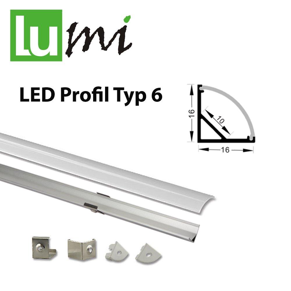 LED Aluprofil für LED Streifen mit opal Abdeckung (Typ-6 (16161) 2m ...