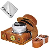 First2savvv full body Precise Fit PU leather digital camera case bag cover with should strap for Panasonic Lumix DC-GF9.GF8 .GF7.GX850.GX800 with 12-32mm Lens + Cleaning cloth XJD-GF9-09