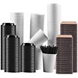 Gotopack Coffee Cups with Lids and Sleeves and Straws PLA Disposable Reusable Paper Cups, 12 oz, Set of 120