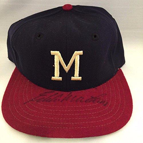 1950's Hank Aaron & Eddie Mathews Signed Game Issued Milwaukee Braves Cap - JSA Certified - Autographed Hats Milwaukee Braves Cap