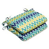 Pillow Perfect Outdoor Zulu Rounded Corners Seat Cushion, Blue/Green, Set of 2 For Sale