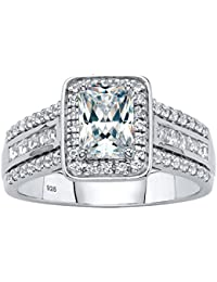 Platinum over Sterling Silver Emerald Cut Simulated White Sapphire Halo Engagement Ring