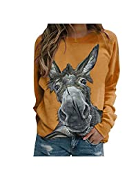 BANDANA Womens Fish Cat Sweatshirt Casual Loose Fit Halloween Crewneck Sweater Long Sleeve Tops Plus Size