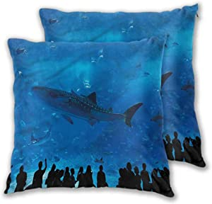 Mannwarehouse Shark Bed Pillows Cover, Aquarium Park and People Home Decorative Throw Cushion Case Colorful Decorative for Bedroom Living Room Sofa Home Decor 2PCS - W22 x L22 inch