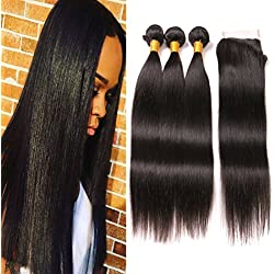 3 Bundles Of Brazilian Hair Straight With Closure Human Hair Weave Real Hair Closures 8A Natural Extensions Double Weft Hair Pieces For Women 18 20 22 + 16in