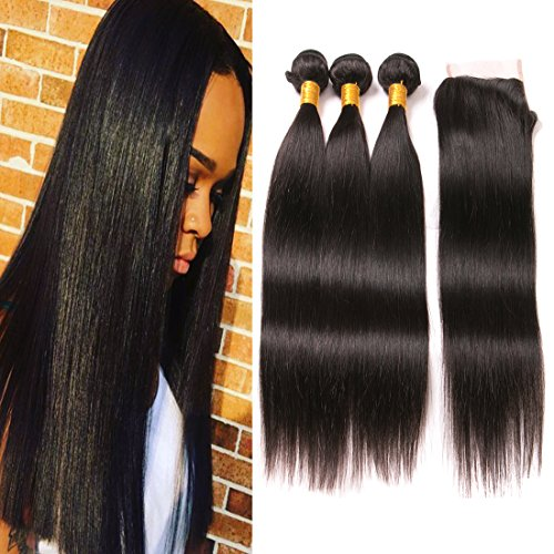 Price comparison product image 3 Bundles Of Brazilian Hair Straight With Closure Human Hair Weave Real Hair Closures 8A Natural Extensions Double Weft Hair Pieces For Women 18 20 22 + 16in