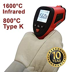 High-Temperature Non-Contact Infrared Thermometer -58°F to 2912°F - Accurate Digital Surface IR Thermometer with Probe - ennoLogic eT1600S